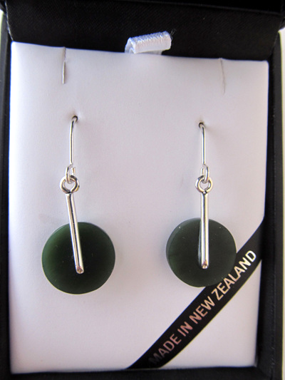 GS1105 Round greenstone earrings with silver post.