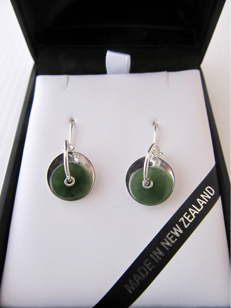 GS1109 Silver disc Greenstone earrings