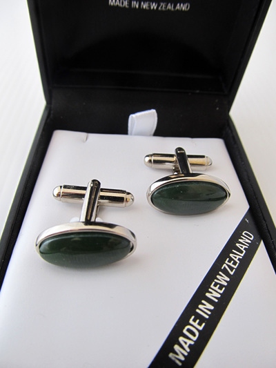 GS2102S Oval greenstone and silver cufflinks.