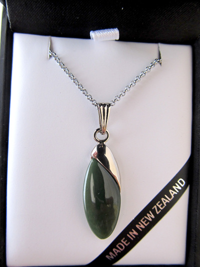 GS3141S Oval greenstone pendant in palladium coated setting with silver cha