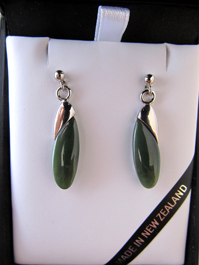 GS4232S Oval greenstone earrings in palladium coated setting.