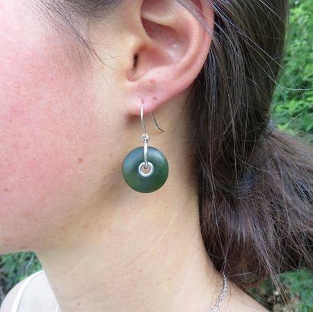GSE1023 Doughnut Greenstone drop earrings