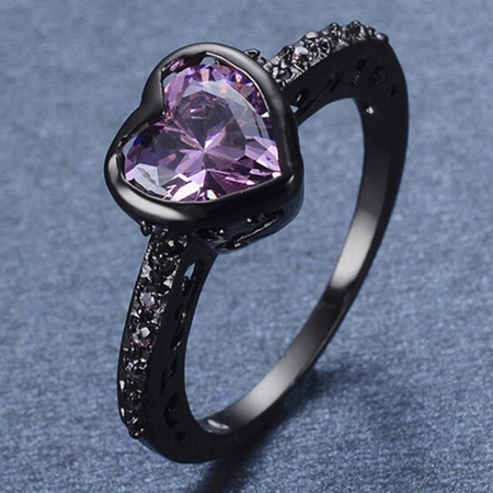 Gun Metal Purple Heart Ring - US7