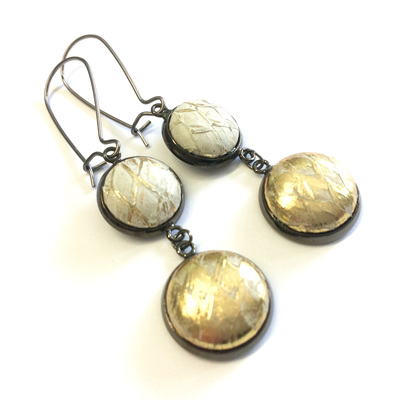 Gunmetal double drop earrings