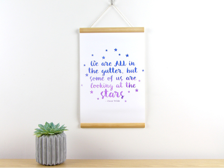 Gutter-stars quote canvas print