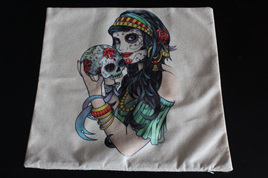 Gypsy Gothic Skull Cushion Cover