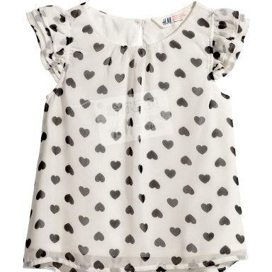 H& M Cream and White Lined Heart Top