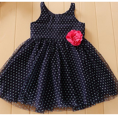 H & M Navy Dress with teal spots and Pink flower