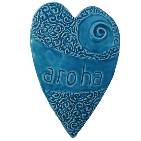 HA03B Blue Ceramic Aroha Heart