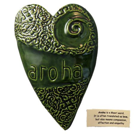 HA03G Green Ceramic Aroha Heart wall art