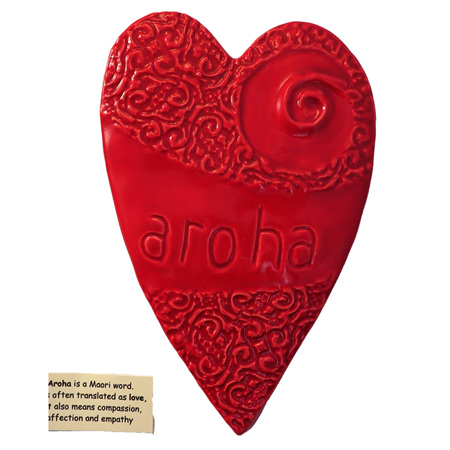 HA03R Red Ceramic Aroha Heart Wall art