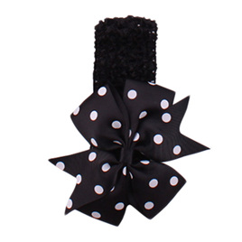 HAIRBAND WITH SPOTTED BOW - BLACK