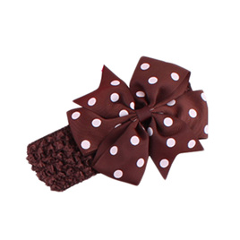Hairband with Spotted Bow - BROWN