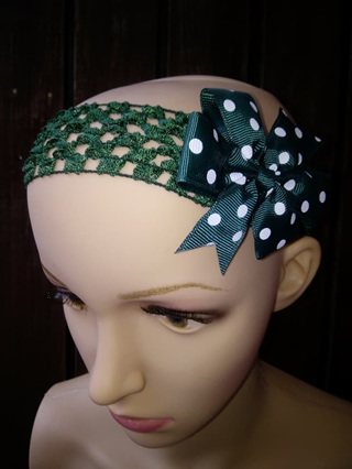 Hairband with Spotted Bow - Dark Green