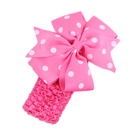 Hairband with Spotted Bow - HOT PINK