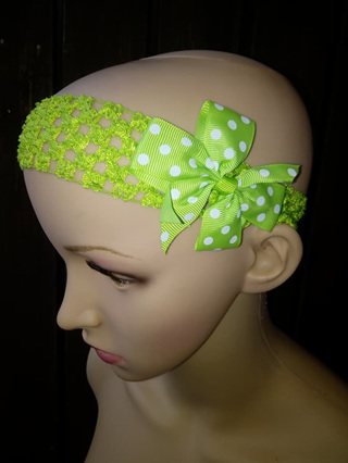 Hairband with Spotted Bow - Light Green