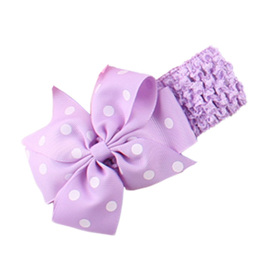Hairband with Spotted Bow - LIGHT PURPLE