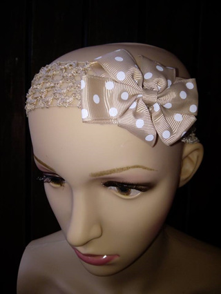 Hairband with Spotted Bow - Mocha