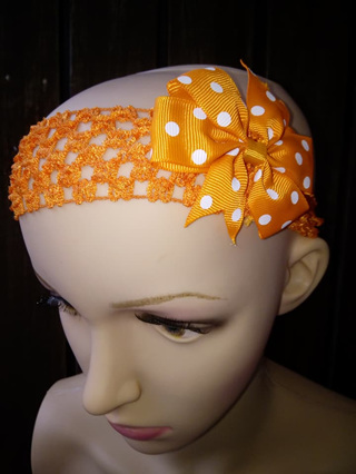 Hairband with Spotted Bow - Orange