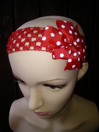 Hairband with Spotted Bow - Red