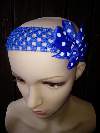 Hairband with Spotted Bow - Royal Blue