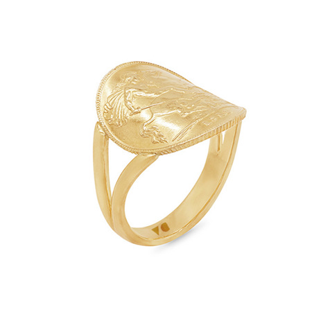 Half Sovereign Coin Ring in Yellow Gold
