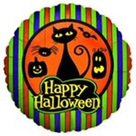 Halloween Cat and Pumpkins Foil Balloon 18""