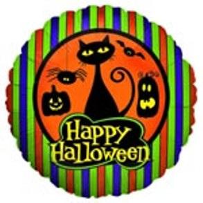 """Halloween Cat and Pumpkins Foil Balloon 18"""""""