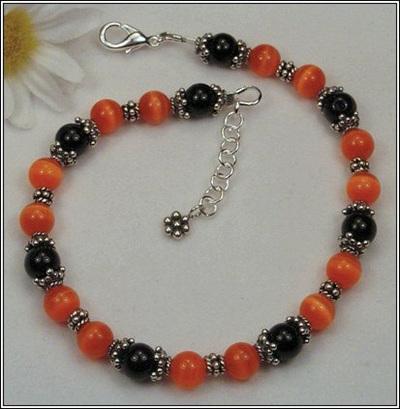 Halloween Orange and Black Bracelet