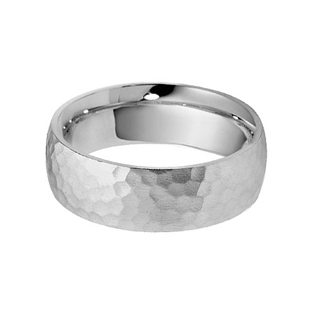Hammered Finish Mens Wedding Ring