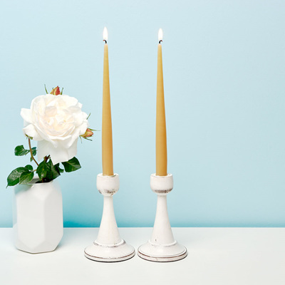 Recycled hand dipped taper candles