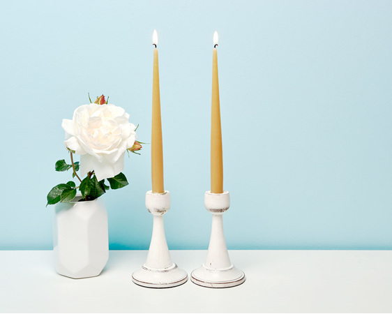 Hand dipped taper candles made from recycled wax