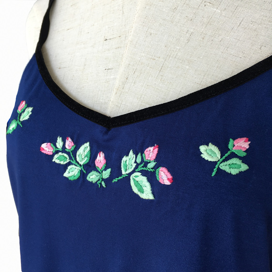 hand embroidered navy singlet top
