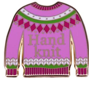 Hand Knit Enamel Pin