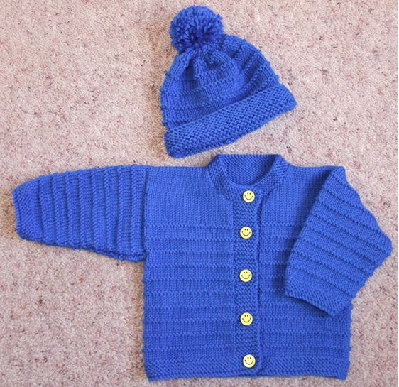 Hand Knitted Cardigan Set - Blue