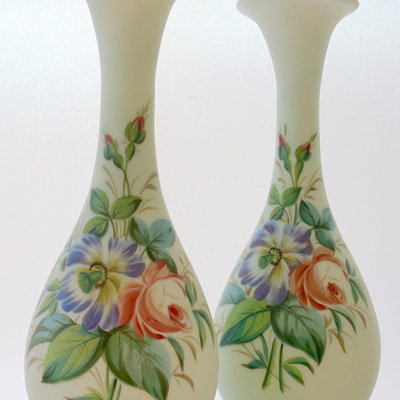 Hand painted pair glass vases