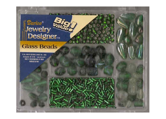 Handblown Glass Beads Pack - Green  (DR1973.49)