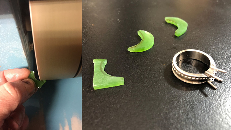 Handcarving pounamu jade greenstone to inlay in the new engagement ring design