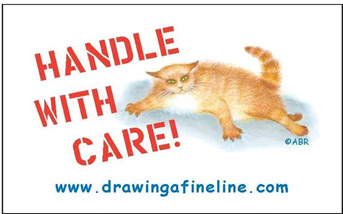 """Handle with care"" sticker showing big ginger cat ready to react if annoyed"