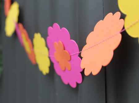 Handmade flower garland - pink, yellow and orange
