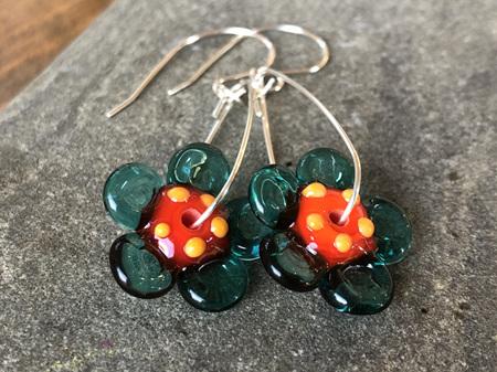 Handmade glass earrings - 3d flower - orange with teal petals