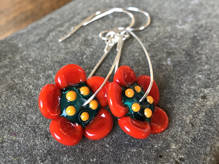 Handmade glass earrings - 3d flower - Teal with orange petals