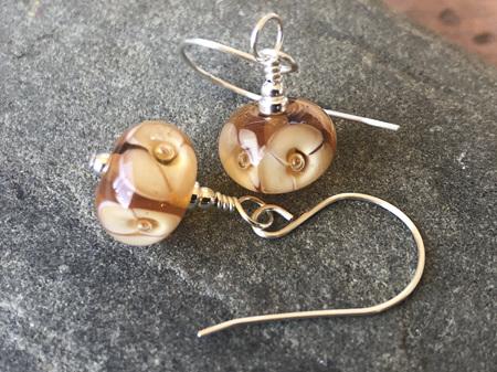 Handmade glass earrings - bubble flower - caramel