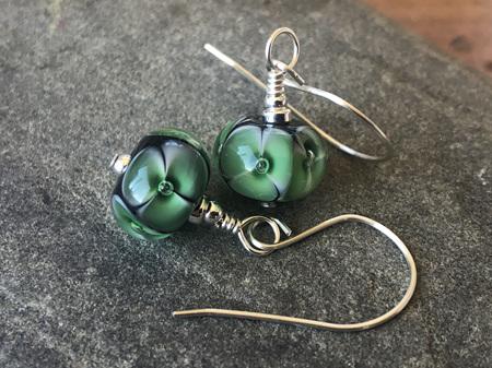 Handmade glass earrings - bubble flower - Emerald