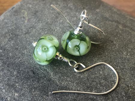 Handmade glass earrings - bubble flower - green