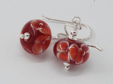 Handmade glass earrings - bubble flower - red