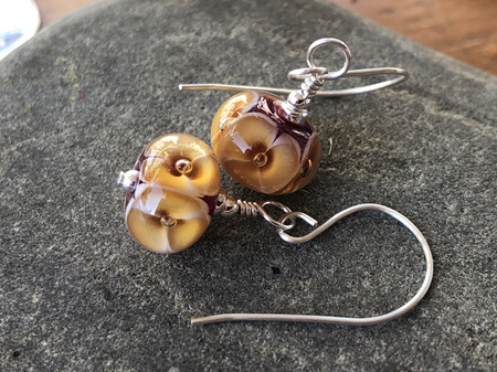Handmade glass earrings - bubble flower - Toffee