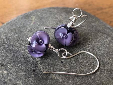 Handmade glass earrings - bubble flower - violet