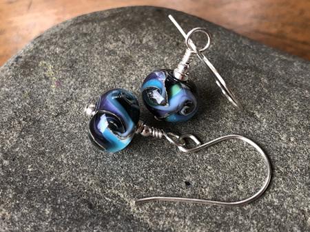 Handmade glass earrings - cosmic swirl - pale blue/purple