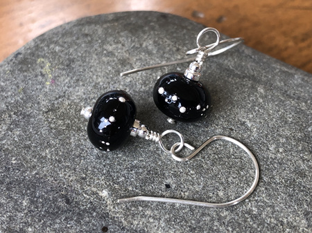 Handmade glass earrings - pure silver trails - black